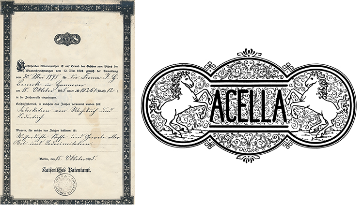 Acella trademark and logo in 1895