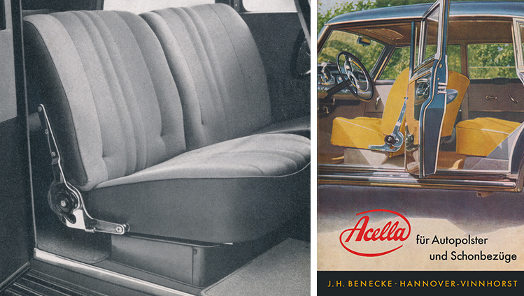Car seats made of Acella imitation leather and matching advertising brochure